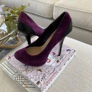 Purple and Black Suede Pumps